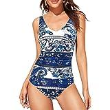 Upopby Women's One Piece Swimsuit Tummy Control Padded Athletic Training Swimwear V Neck Slimming Bathing Suit Plus Size