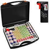 Battery Organizer Storage Case with Battery Tester, 166 Batteries Holder Container Box for AA AAA AAAA 9V C D Lithium 3V LR44