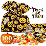 Halloween Treat Bag 100 Pcs Halloween Candy Bags For Trick or Treat Pumkin Bags for Party Favors, Snacks, Decoration, Childre