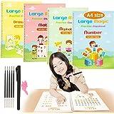 weeturelat 4PCS A4 Size Magic Practice Copybook for Kids, Reusable Handwriting Workbook Set, Calligraphy Tracing Book for Pre