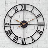 Mofine Large Outdoor Clock, Vintage Antique European Industrial Decorative Metal Roman Outdoor Clock, Silent Battery Operated
