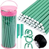 Elcoho 40 Pieces 9.45 x 0.31 Inch Flexible Curling Rods No Heat Hair Rollers Hair Curlers Set, 2 Comb, 1 Satin Bonnet, 1 Cosm