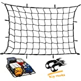 Upgraded Latex Bungee Cord Cargo Net Kindax 47 x 36 Cargo Net with 12 big removable Hooks Stretches to 80 x 60 for the Secure