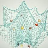 Bilipala Rustic Decorative Fishing Net Wall Decor with Seashells Nautical Style Wall Hangings Ornaments Aqua