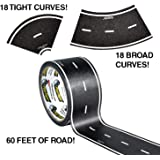 "PlayTape 60' x 2"" Black Road Starter Pack - Includes 2"" Street Curves - Tape Toy Car Track For Kids - Sticker Roll for Cars"