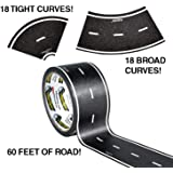 PlayTape 60' x 2 Black Road Starter Pack - Includes 2? Street Curves - Tape Toy Car Track For Kids - Sticker Roll for Cars an