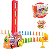 Vanmor 80Pcs Domino Train Toy Set, Domino Rally Train Model with Lights and Sounds Construction and Stacking Toys, Stackers G