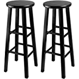 "Winsome Set of 2 Solid Wood 29"" Bar Stool with Square Legs - Black"