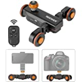Neewer 3-Wheels Wirelesss Camera Video Auto Dolly,Motorized Electric Track Rail Slider Dolly Car with Remote Control,3 Speed