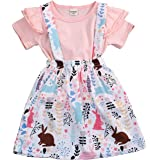 YOUNGER TREE Toddler Baby Girl Easter Clothes Skirt Set Ruffle Sleeves Top+ Rabbit Print Floral Suspender Skirt Tutu Dress Ou