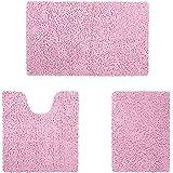 HOMEIDEAS Microfiber Absorbent Bath Rug, Chenille Washable Floor Mat -Non Slip Soft Carpet Pink
