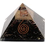 Spiritual Elementz Reiki Energized Chakra Healing Black Orgone Pyramid (3'Inch) with Clear Crystal Gemstone Copper Metal (Sto