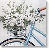 Abstract Flowers Artwork Canvas Painting: Floral Bouquet in Bicycle Hand Painted Wall Art on Canvas for Office Bedroom (24''