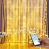 YEOLEH String Lights Curtain,Sound Activated Icicle Lights for Bedroom/Wedding/Window,Sound Activated Function Can Sync with