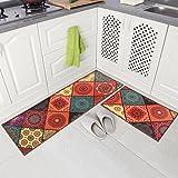 "Carvapet 2 Piece Non-Slip Kitchen Mat Runner Rug Set Doormat Vintage Design Baroque Style,Square (15""x47""+15""x23"")"
