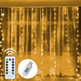 Funpeny Window Curtain String Lights, 300 LED 8 Lighting Modes Fairy Lights USB Powered, Waterproof Lights for Christmas Bedr