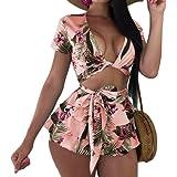 FSSE Womens Summer Boho Floral Print Cop Top & Ruffle Beach Shorts Outfits Playsuit
