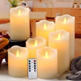 """Flameless Candles Flickering Battery Operated LED Candles Set of 7 (D:3"""" X H:4"""" 4"""" 5"""" 5"""" 6"""" 7"""" 8"""") Ivory Real Wax Pillar with"""
