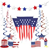 4th of July Decorations , Fourth of July Patriotic Party Decorations Supplies, Pack of 14   Include 1 American USA Polyester