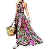 WUFAN Women Boho Casual Swing Print Halter Neck Long Maxi Dress
