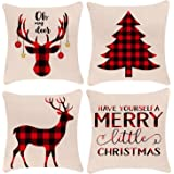 18x18 Pillow Covers,Christmas Throw Pillow Covers, Decorative Outdoor Merry Christmas Linen Pillow Covers Set of 4 for Couch