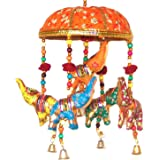 Rastogi Handicrafts Handcrafted Umbrella Shape Decorative Wall Hanging for Home Decoration(Orange)