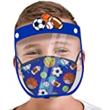 ABG Accessories Kids Face Shield with Matching Little Boys Reusable Fabric Mask