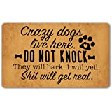 DoubleJun Funny Doormat Crazy Dogs Live Here Do Not Knock They Will Bark Entrance Mat Floor Rug Indoor/Outdoor/Front Door Mat