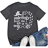 I Solemnly Swear That I Am Up to No Good T-Shirt Women Funny Halloween Letter Print Orange Tee Tops