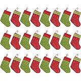 QBSM Christmas Mini Stockings, 24 Pcs 9 inch Small Felt Christmas Stockings with Snowflake Bulk Gift & Treat Holder Bags, Rus