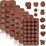 Konsait 105pcs Silicone Candy Gummy Animal Molds, Fondant Chocolate Molds Emojis, Flowers, Lovely Shape in Brown Baking Tray