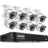 ZOSI 防犯カメラ 8台セット 230万画素 H.265+圧縮方法 8CH防犯レコーダー8台 1080P防水仕様カメラ 暗視機能 防水仕様 パソコン/iPhone/アンドロイドスマホ遠隔監視対応 (8台カメラ+DVR)