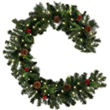greenstream 6 Feet Christmas Garland Pine Cones, and Red Berries Artificial Pine Wreath Garland Xmas Decorations (with Light)