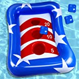 """iGeeKid 36"""" Swimming Pool Ring Toss Games Inflatable Pool Toys Floating Toss Game for Kids Adults Floating Cornhole Board Set"""