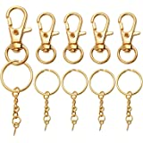 Lobster Claw Clasps and Key Rings with Chain Set, 25 Pieces Swivel Clasps Lanyard Snap Hook and 25 Pieces Keychain Rings with