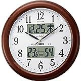 リズム CITIZEN (シチズン) 電波時計 掛け時計 インフォームナビEX 温湿度計付き ・ 夜間自動点灯 木枠茶色 4FY620-006 Ф361x60mm