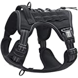 FIVEWOODY Tactical Service Dog Harness Training No Pulling Front Clip Leash Attachment Reflective K9 Working Dog Vest Easy Co