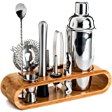 BRITOR Bartender Kit,Bar Set Cocktail Shaker Set,10-Piece Bar Tool Set with Stylish Bamboo Stand - Perfect Home Bartending Ki