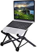 Laptop Stand, Tendak Portable Computer Stand Adjustable Foldable Travel Notebook Holder Mount Desktop Space-Saving with Cooling Hole for Macbook/ Lenovo/ ASUS/ ThinkPad/ Dell/ HP/ Acer (Black)