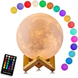 Moon Lamp with Stand(Diameter 4.8 inch) LOGROTATE 16 Colors 3D Print Moon Light with Remote & Touch Control and USB Recharge