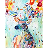 Diamond Painting Art,Colorful Deer Full,Round Diamond Drill,Embroidery Jewel Painting for Wall Decor and Gift,Gem Art Craft H