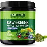 NATURELO Raw Greens Superfood Powder - Best Supplement to Boost Energy, Detox, Enhance Health - Organic Spirulina & Wheat Gra