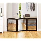 """PAWLAND Extra Wide Dog gate for The House, Doorway, Stairs, Freestanding Foldable Wire Pet Gate, Pet Puppy Safety Fence,30"""" H"""