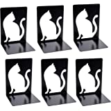 Lovely Persian Cat Decorative Bookends Book Ends for Shelves, 3Pair Non Skid Metal Bookend for Heavy Books, Book Divider Deco
