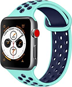 ATUP コンパチブル Apple Watch バンド 42mm 38mm 44mm 40mm、ソフトシリコン交換用リストバンド iWatch series 5/4/3/2/1に対応、iWatchは含まれていません (38/40 S/M, 07 ティール/ネイビーブルー)