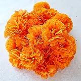 TRvancat Marigold Flower Heads Bulk 30Pcs, Silk Artificial Flowers for DIY Wedding Party Deor 5cm(Orange)