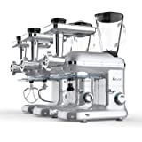 Ausbuy Stand Mixer, 1100W 4.5L 6-Speed Tilt-Head Food Mixer, Kitchen Electric Mixer with Dough Hook, Wire Whip & Beater (Silv