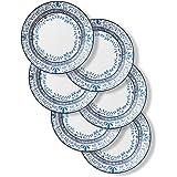 CORELLE Signature Dinner Plates, 6 Piece Set, Portofino, Blue And White