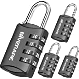 GIVERARE 4 Pack Combination Lock, 4-Digit Padlock Keyless, Resettable Luggage Locks for Backpack, Gym & School & Employee Loc
