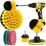 YanYoung 9 Piece Drill Brush Attachment Set, Drill Brush Kit for Tire and Rim Cleaning with Scrub Pads Sponge, Drill Bit Scru